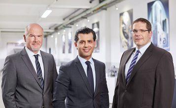 (v.l.n.r.: Gökhan Balkis, algemeen directeur van de Franz Morat Group/dr. Matthias Dannemann, operationeel directeur van Framo Morat/Jörg Hansen, operationeel directeur van F. Morat)